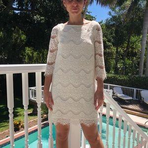 ZARA white lace three-quarter length sleeve dress